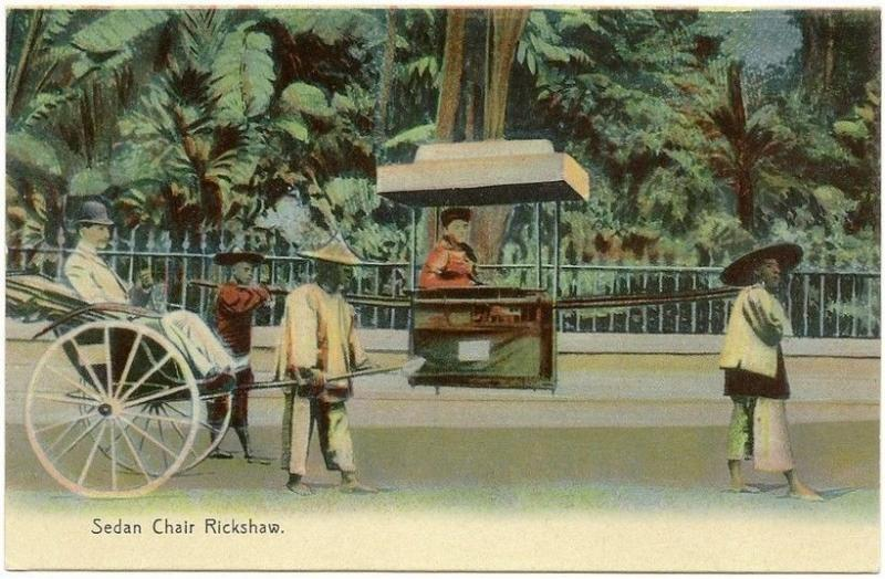 Hong Kong early hand color Sedan Chair Rickshaw ppc