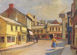 Vintage Art Postcard, Central Square, Newquay, Cornwall by Herbert Truman 58T