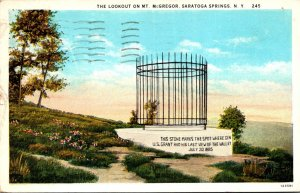 New York Saratoga Springs The Lookout On Mount McGregor 1934 Curteich