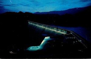 North Carolina Fontana Dam & Observation Building At Night