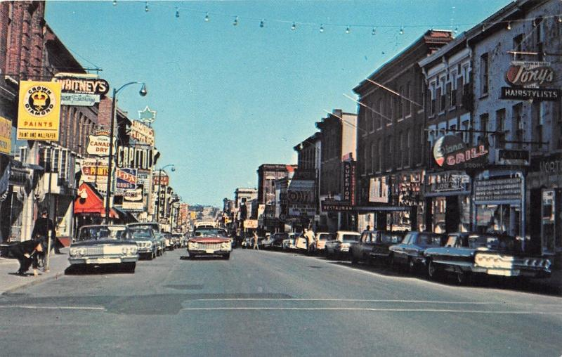 Kingston Ontario~Princess Street~Stores~Capitol Theatre~Tonys~Grill~60s Cars