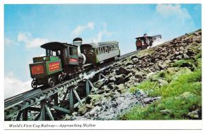 NH White Mountain Cog Railway Approaching Skyline Postcard