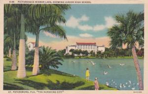 Florida St Petersburg Mirror Lake Showing Junior High School Curteich