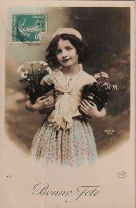 RP: BIRTHDAY, 1910-20s; Bonne Fete, Girl holding potted flowers