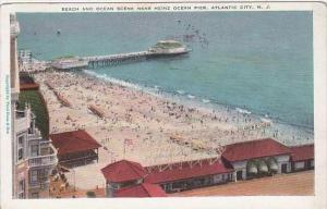 New Jersey Atlantic City Beach And Ocean Scene Near Heinz Ocean Pier 1929