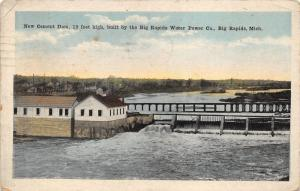 Big Rapids Michigan~New Cement Dam~Built by Water Power Co~Houses Distance~1923