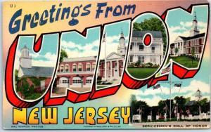 UNION New Jersey Large Letter Postcard Art-Tone Beals Linen c1940s Unused