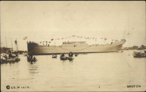 Portland ME Chip Ceiling Co & Cumberland Shipbuilding Ship Launch MILTON rppc