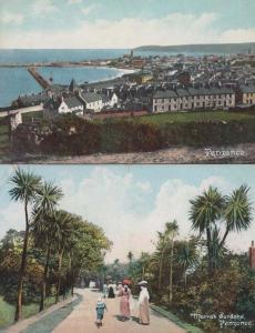 Mothers + Children Morrab Gardens + Aerial 2x Antique Penzance Postcard s