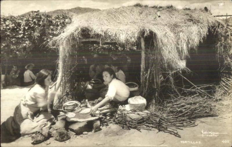 Ethnic Native Life Mexico Women Cooking Tortillas Food Real Photo Postcard