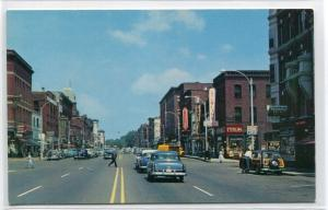 Main Street Street Scene Cars Woody Wagon Concord New Hampshire postcard