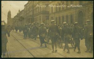 1919 Prussian Mortar Troops German Revolution Munich Strassenkampf RPPC 52360