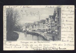 TUBINGEN VON DER NECKARBRUCKE 1902 GERMANY ANTIQUE VINTAGE POSTCARD