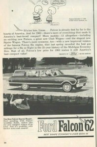 1962 Ford Falcon Automobile Vintage Print Ad Featuring Peanuts Charlie Brown