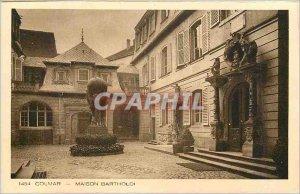 1454 Old Postcard Colmar house bartholdi