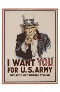 I Want You For US Army American Recruitment WW1 Uncle Sam Poster Postcard