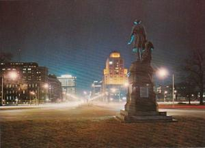 Canada Toronto Sir John A MacDonald Statue In Queen's Park At Night