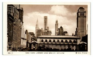 RPPC New York City Library and 42nd Street Skyline Real Photo Postcard *6S(5)8