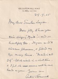 Arthur Somervell Classical Composer of Handel Full Hand Signed Written Letter