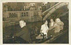 vintage Postcard elegant people in boat along the canal