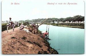 VTG Postcard Cairo Native Men Fishing Egypt Street View Pyramids Road Donkey A4