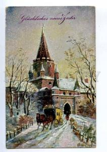 240201 NEW YEAR Horse near KREMLIN Vintage postcard