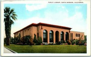 Santa Barbara, California Postcard PUBLIC LIBRARY Building View c1930s Unused