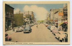 Street Scene Cars Ganaque Ontario Canada postcard