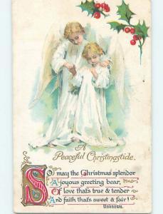 Pre-Linen christmas ANGEL PUTS HAND ON SHOULDER OF SMALLER ANGEL HL0340