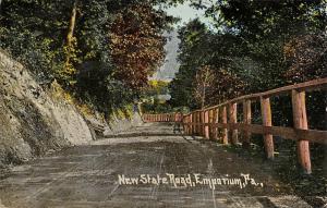 Emporium Pennsylvania~New State Road~Rustic Rail Fence Along Route 120?~1912 PC
