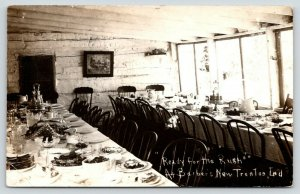 New Trenton IN~Table Is Set, Ready For the Dinner Rush~Barber's Resort RPPC 1912