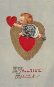 LP99 Valentine's Day Postcard Winsch Publisher Baby playing with heart
