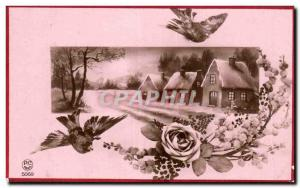 Old Postcard Fantasy Landscape in the snow
