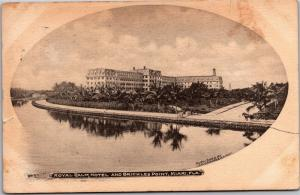 Royal Palm Hotel and Brickles Point, Miami Florida c1905 Vintage Postcard L19