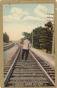 Man Walking On Railroad Tracks Coming Home By Rail 1909