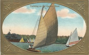 Yachting On The Hudson River, New York, Early Postcard, Used in 1910