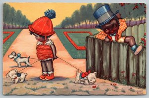 Artist Sign Black Americana~Lil Girl~Puppies All Over~Boy Climbs Fence~Art Dec