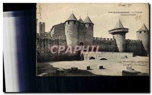 Old Postcard Cite Carcassonne castle entrance prinicipale