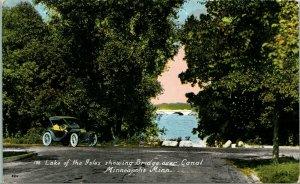 Vintage Postcard Lake of the Iles Showing BRidge Over Canal Minneapolis, MN CAR