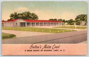Raleigh~Cary North Carolina~Sutton's Motor Court~Roadside US Route 1~1940s Linen
