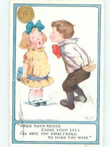 Pre-Linen signed BOY TRICKS GIRL INTO GETTING KISSED AC1642