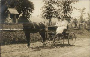 Horse Drawn Carriage Wagon Man Woman Old Water Well Real Photo Postcard
