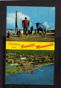 MN Greetings From Bemidji Minnesota Postcard Paul Bunyan City View