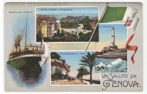 Saluto Da Genova Ship Porto Lanterna Flag Genoa Italy 1910s postcard