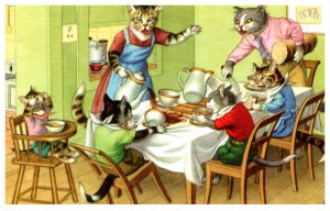 Anthropomorphic  Cats , Family at Dinner   Alfred Mainzer  no.4850