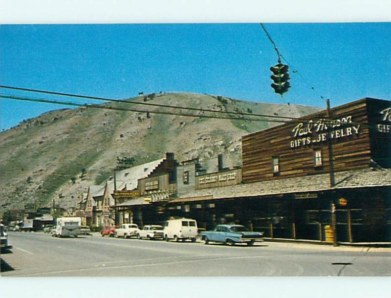 Unused Pre-1980 OLD CARS & SHOPS & PAUL HANSON JEWELRY STORE Jackson WY v5698