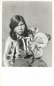 denmark, Greenland Grönland, Young Inuit Girl with her little Sister (1920s)