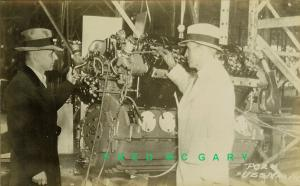 1933 East Akron OH RPPC: Execs Near Airship USS Macon Under Construction