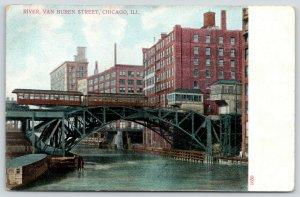 Chicago Illlinois~Trolleys on Van Buren Street Bridge~Wood Office on River~c1910