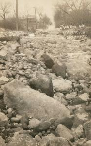 JACKSON AVE. AFTER FLOOD 1927 ANTIQUE REAL PHOTO POSTCARD RPPC GREAT MISSISSIPPI
